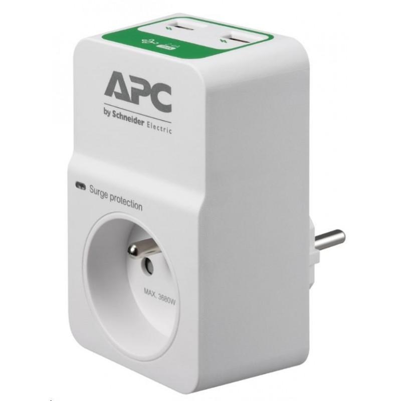 APC Essential SurgeArrest 1 outlets with 5V, 2.4A 2 port USB charger, 230V France PM1WU2-FR