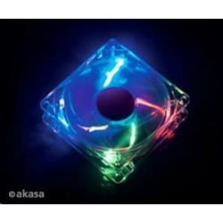 AKASA Ventilátor Rainbow, 120 x 25mm, průhledný se 4 led, kluzné ložisko, tichý AK-274CC-4RAS