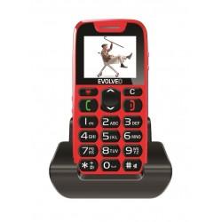 EVOLVEO EasyPhone, mobilní telefon pro seniory s nabíjecím stojánkem (červená barva) EP-500-RED