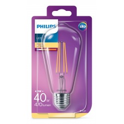 PHILIPS LED žárovka designová ST64 230V 4,3W E27 noDIM Čirá 470lm 2700K Sklo A++ 15000h (Blistr 1ks) 929001890201