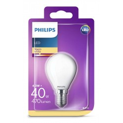 PHILIPS LED žárovka iluminační P45 230V 4,3W E14 noDIM Matná 470lm 2700K Sklo A++ 15000h (Blistr 1ks) 929001345517