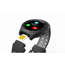 EVOLVEO SportWatch M1S, chytré sportovní hodinky s podporou SIM, šedočerný pásek SPW-M1S-BLACK