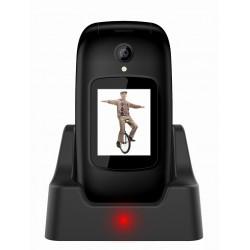 EVOLVEO EasyPhone FD, mobilní telefon pro seniory s nabíjecím stojánkem (černá barva) EP-700-FDB