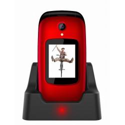 EVOLVEO EasyPhone FD, mobilní telefon pro seniory s nabíjecím stojánkem (červená barva) EP-700-FDR