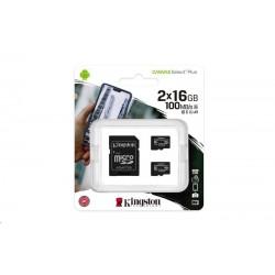 Kingston 16GB micSDHC Canvas Select Plus 100R A1 C10 - 2ks + SD adaptér SDCS2/16GB-2P1A