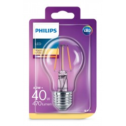 PHILIPS LED žárovka klasická A60 230V 4,3W E27 noDIM Čirá 470lm 2700K Sklo A++ 15000h (Blistr 1ks) 929001890017