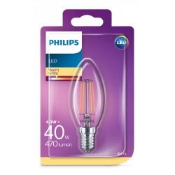 PHILIPS LED žárovka svíčková B35 230V 4,3W E14 noDIM Čirá 470lm 2700K Sklo A++ 15000h (Blistr 1ks) 929001889717