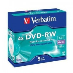 VERBATIM DVD-RW(5-pack)Jewel/4x//DLP/4.7GB 43285