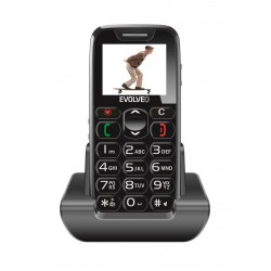EVOLVEO EasyPhone, mobilní telefon pro seniory s nabíjecím stojánkem (černá barva) EP-500-BLK