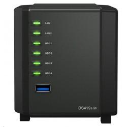 Synology DS419slim DiskStation (2C/Armada385/1,33GHz/512MBRAM/4xSATA/2xUSB3.0/2xGbE) DS419slim_sk