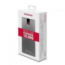 AXAGON PWB-L10, Power banka, Li-Pol 10000mAh 2A IN/2.4A OUT, LCD, hlínikové prevedenie
