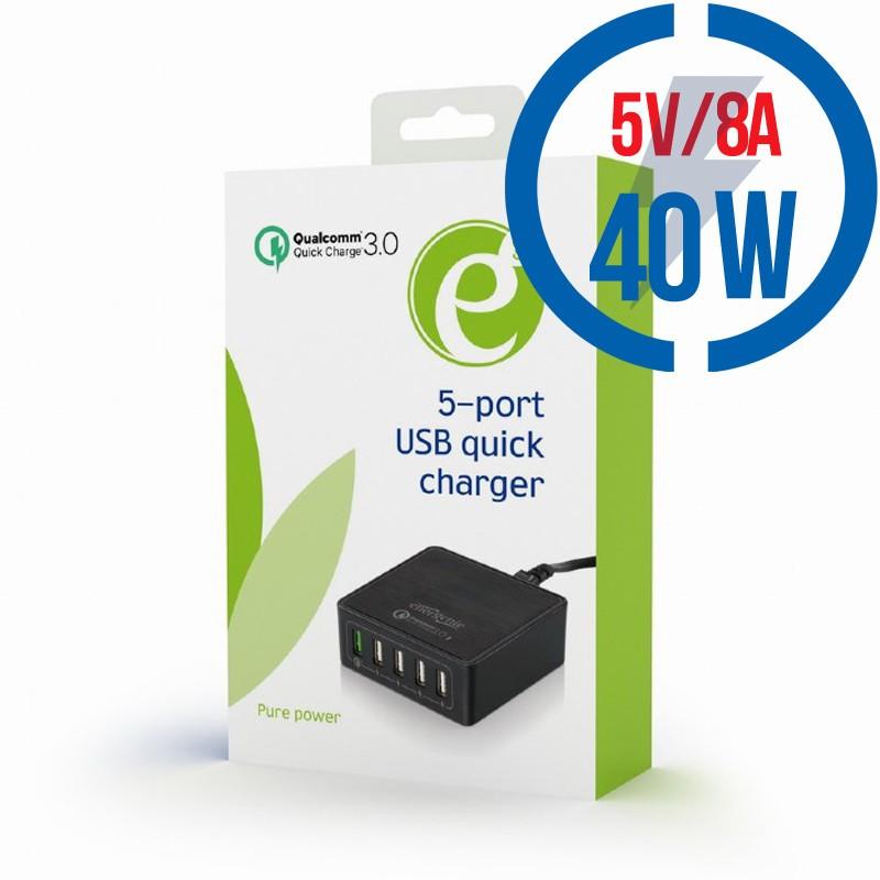 GEMBIRD 5-port USB quick charger, QC 3.0, black EG-UQC3-02