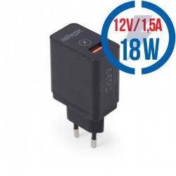 GEMBIRD 1-port USB QC3.0 quick charger, black EG-UQC3-01