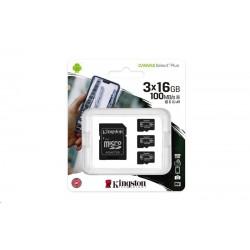 Kingston 16GB micSDHC Canvas Select Plus 100R A1 C10 - 3 ks SD adaptér SDCS2/16GB-3P1A