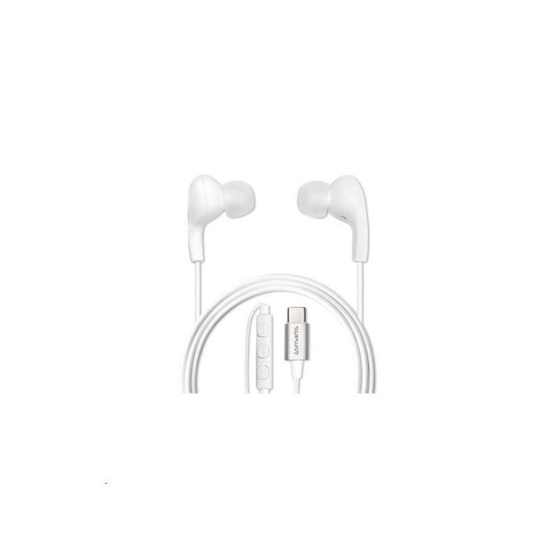 4smarts stereo sluchátka s mikrofonem Melody Digital, konektor USB-C, bílá 4S465587