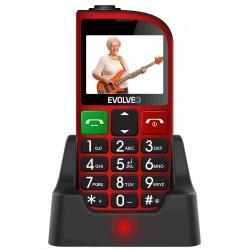 EVOLVEO EasyPhone FM, mobilní telefon pro seniory s nabíjecím stojánkem (červená barva) EP-800-FMR