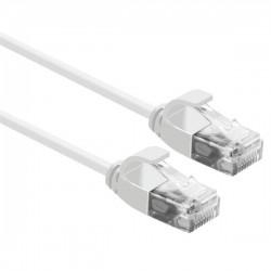 OEM patch kábel Cat6A, UTP, LSOH - 1m, biely, SLIM PK-UTP6A-100-WH-SL