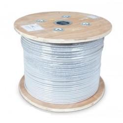 CNS kabel S/FTP, Cat6A, drát, Eca, PVC, cievka 305m - šedá...