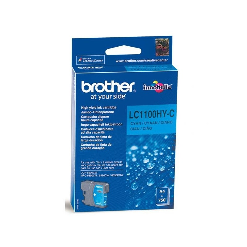 Brother originál ink LC-1100HYC, cyan, 750str., high capacity, Brother DCP-6690CW, MFC-6490CW LC1100HYC