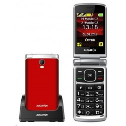 Aligator V710 Senior, Dual SIM, červeno-stříbrná  nabíjecí stojánek...