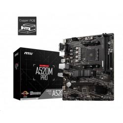 MSI MB Sc AM4 A520M PRO, AMD A520, VGA, 2xDDR4, m-ATX