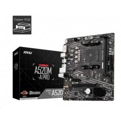 MSI MB Sc AM4 A520M-A PRO, AMD A520, VGA, 2xDDR4, m-ATX