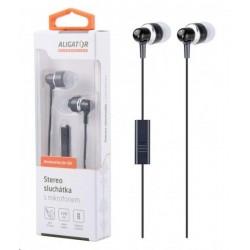 Aligator stereo sluchátka AE01 s mikrofonem, 3,5 mm jack, černá...