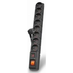 Acar S8 5m kabel, 8 zásuvek, přepěťová ochrana, černá ppacars8-5black