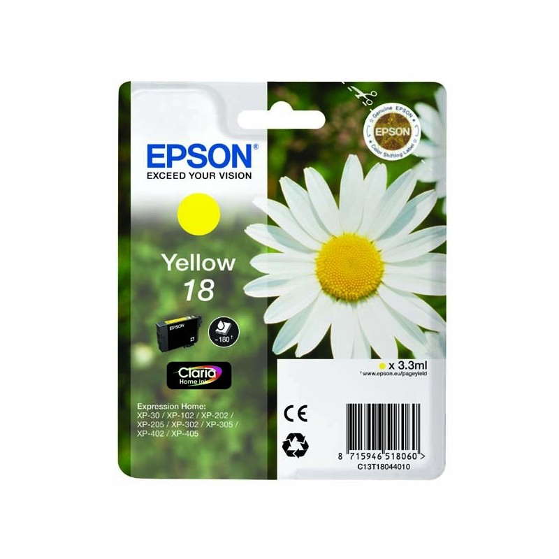 Epson originál ink C13T18044010, T180440, yellow, 3,3ml, Epson Expression Home XP-102, XP-402, XP-405, XP-302