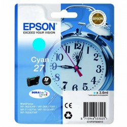 Epson originál ink C13T27024010, 27, cyan, 3,6ml, Epson WF-3620, 3640, 7110, 7610, 7620