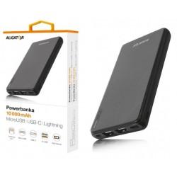ALIGATOR PB1000, 10000mAh 3v1, micro/iPh/USB-C, černá PB1000BK