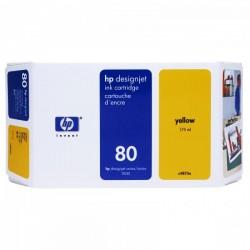 HP originál ink C4848A, No.80, yellow, 350ml, HP DesignJet 1050, C, 1055, C, CM