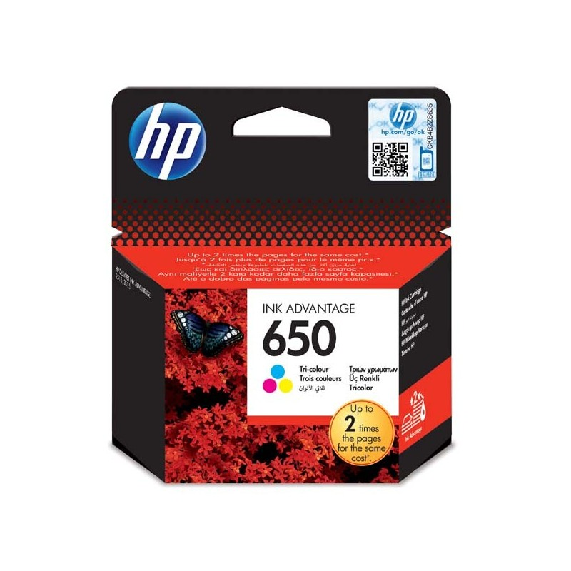 HP originál ink CZ102AE#BHK, No.650, color, 200str., HP Deskjet Ink Advantage 2515 AiO, 3515 e-Ai0, 3545