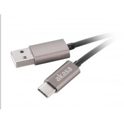 AKASA kabel USB 2.0 Type-C na USB Type-A, 100cm, šedý AK-CBUB32-10GR