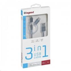 Legrand USB kábel 3v1 - 1xLightning, 1x Micro USB, 1x USB typ C 050693