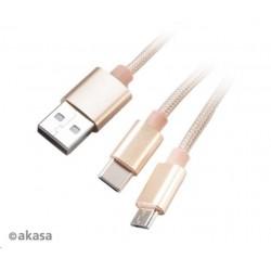 AKASA kabel 2v1 USB Type-A na Micro-B a USB Type-C, 120cm, zlatý...