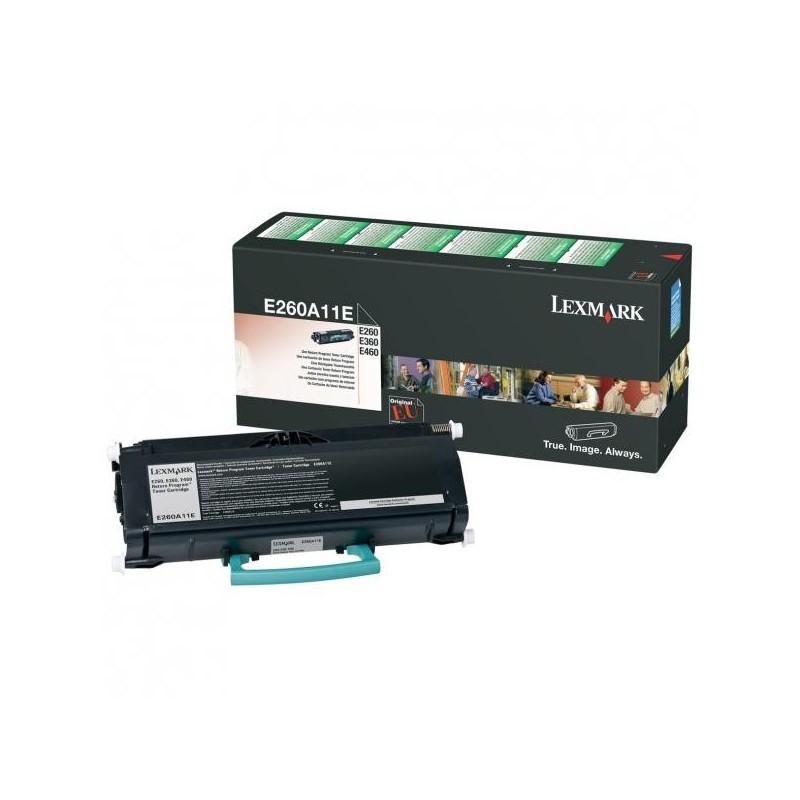 Lexmark originál toner E260A11E, black, 3500str., return, Lexmark E260, E360, E460