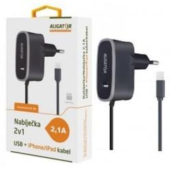 Aligator Nabíječka pro iPhone s USB výst 5V/2,1A, černá CDP0072