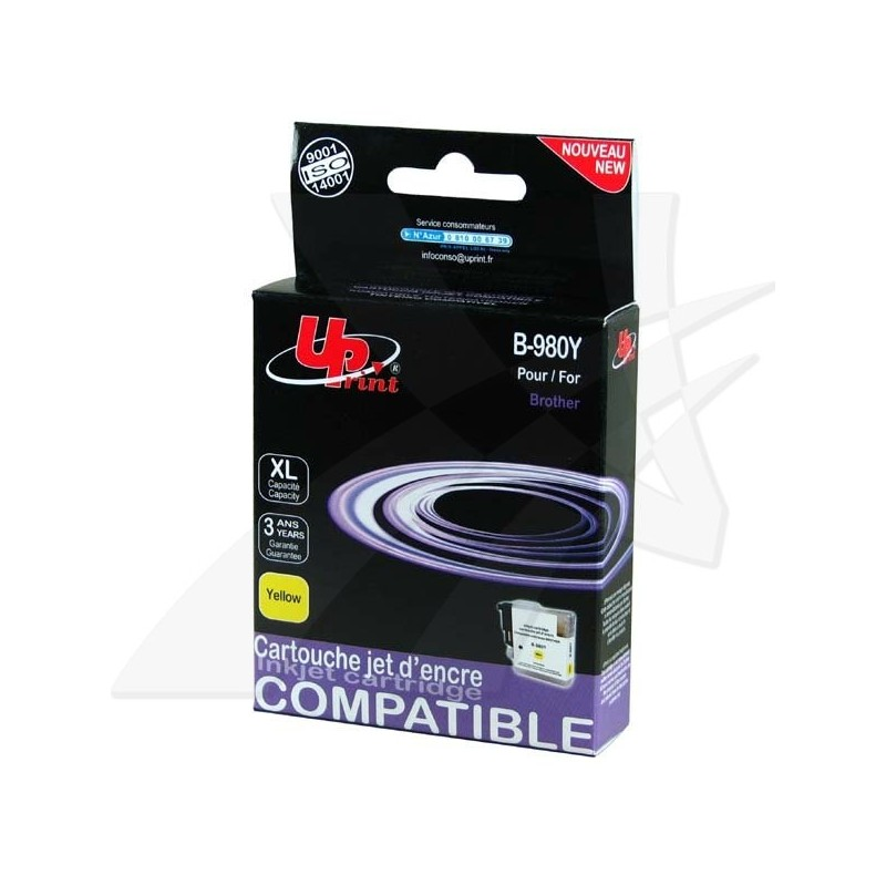 UPrint kompatibil ink s LC-980Y, yellow, 12ml, B-980Y, pre Brother DCP-145C, 165C
