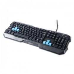E-BLUE Klávesnica Polygon, herná, čierna, drôtová (USB), US + CZ/SK prelepky, odolná proti poliatiu EKM075BK