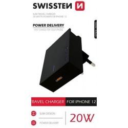 SWISSTEN SÍŤOVÝ ADAPTÉR PD 20W FOR IPHONE 12 ČERNÝ 22050500
