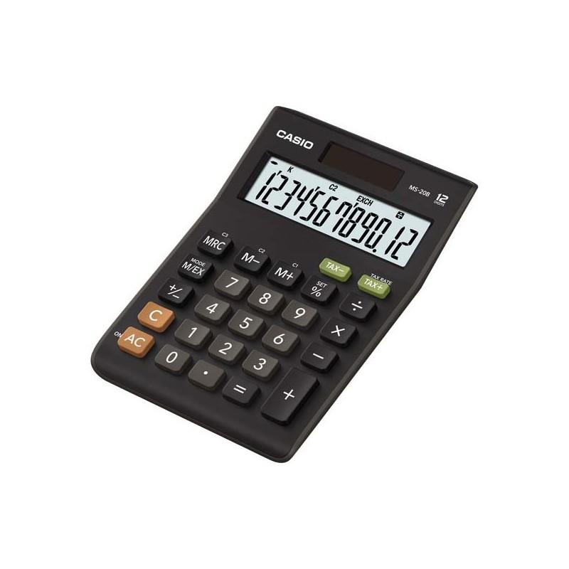 Kalkulačka Casio, MS 20 B S, čierna, stolná s výpočtom DPH, dvanásťmiestna