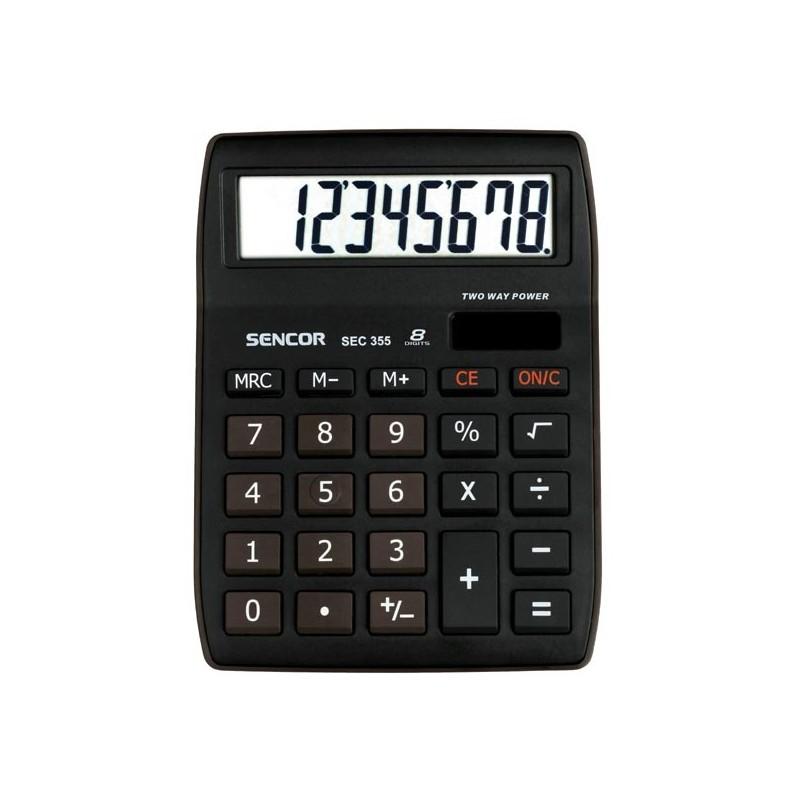 Kalkulačka Sencor, SEC 355, čierna, stolná, osemmiestna