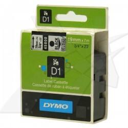 Dymo originál páska do tlačiarne štítkov, Dymo, 45800, S0720820, čierny tlač/priehľadný podklad, 7m, 19mm, D1