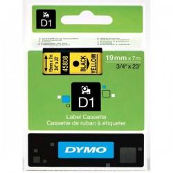 Dymo originál páska do tlačiarne štítkov, Dymo, 45808, S0720880, čierny tlač/žltý podklad, 7m, 19mm, D1