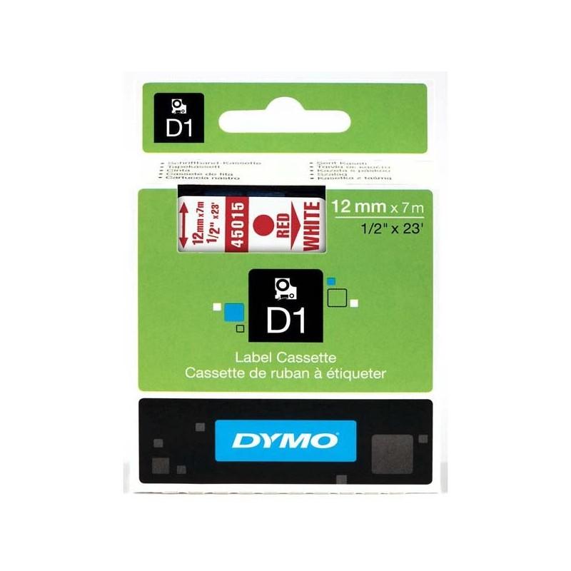 Dymo originál páska do tlačiarne štítkov, Dymo, 45015, S0720550, červený tlač/biely podklad, 7m, 12mm, D1