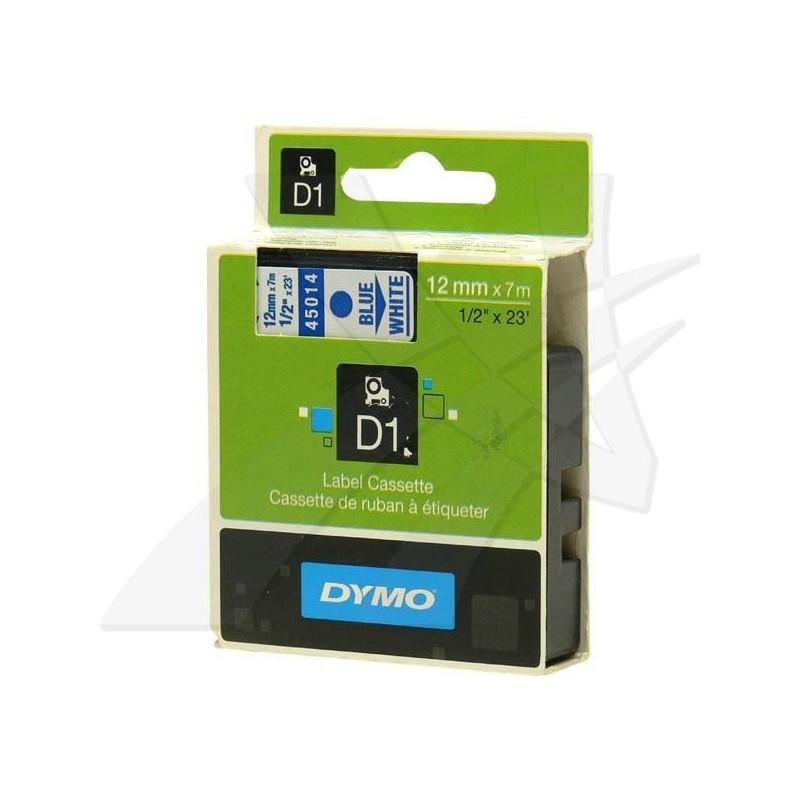 Dymo originál páska do tlačiarne štítkov, Dymo, 45014, S0720540, modrý tlač/biely podklad, 7m, 12mm, D1