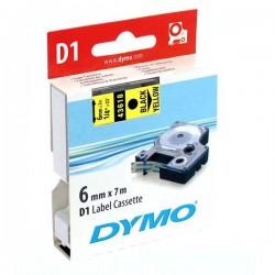 Dymo originál páska do tlačiarne štítkov, Dymo, 43618, S0720790, čierny tlač/žltý podklad, 7m, 6mm, D1