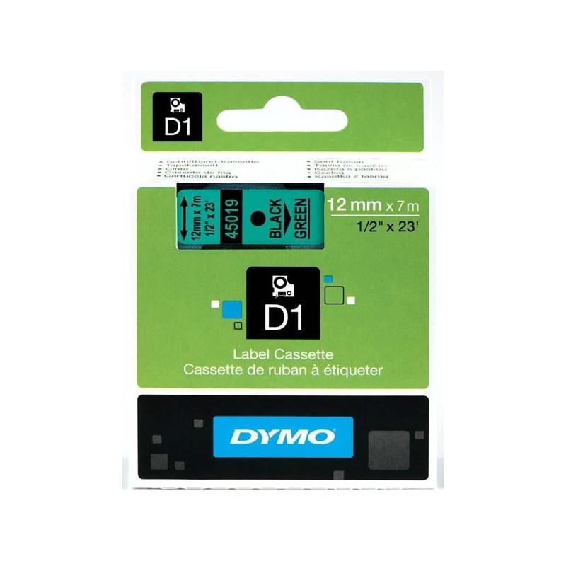 Dymo originál páska do tlačiarne štítkov, Dymo, 45019, S0720590, čierny tlač/zelený podklad, 7m, 12mm, D1