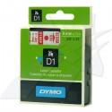 Dymo originál páska do tlačiarne štítkov, Dymo, 40915, S0720700, červený tlač/biely podklad, 7m, 9mm, D1